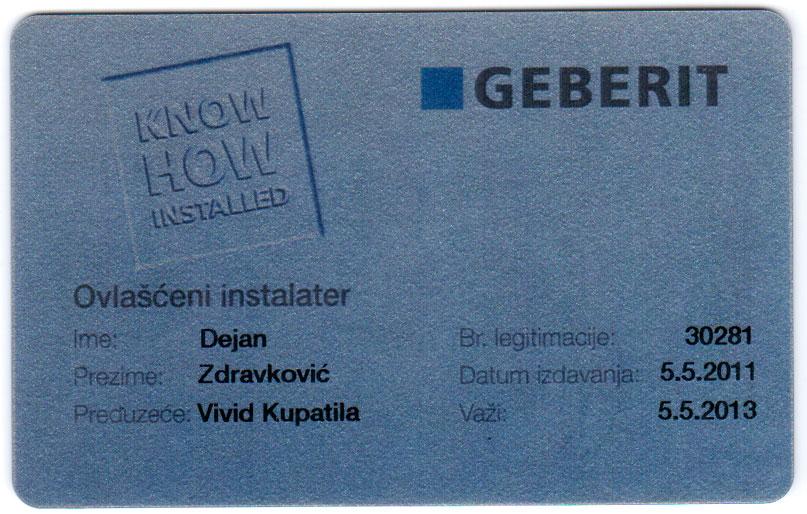 Vivid kupatila - Geberit sertifikaciona kartica