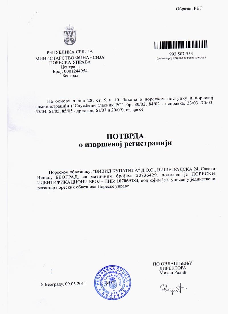 Vivid kupatil - Potvrda o izvršenoj registraciji za PIB